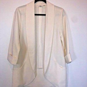 CATO Cream Open Front Blazer Jacket Long Pockets S